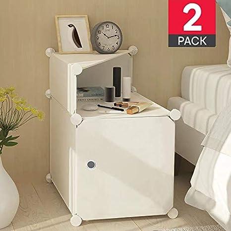 TEREU Mesitas de Noche Dormitorio Mesita de Noche Mesita Mesilla Blancas Blanca Mesillas Mesa Mesas de Noche Pequeñas 2 (Pair)