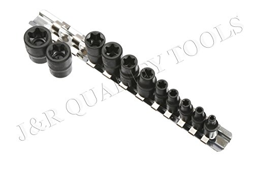 J&R Quality Tools 11 pc FEMALE E-TORX (Star) SOCKET Set w/RAIL E4 - E20 (Twist Socket Set)