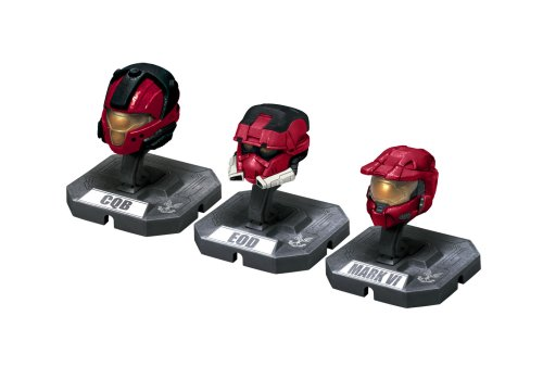 McFarlane Toys Halo Helmet 3PKs Series 1 - Set 1: Mark VI, EOD, CQB All Red (Halo 3 Master Chief 12 Inch Action Figure)