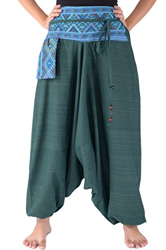 Algodón Bjelly Pantalones Mar Verde Unisex Tradicional Harem Loose wOwRA1P