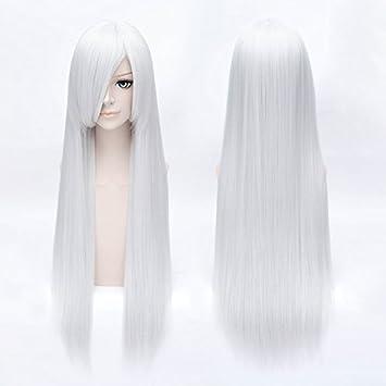HOOLAZA Plateado, blanco, largo y recto con flequillo peluca ...