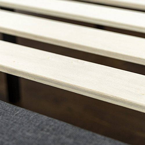 Zinus Dachelle Upholstered Button Tufted Premium Platform Bed / Mattress Foundation / Easy Assembly / Strong Wood Slat Support / Dark Grey, Full