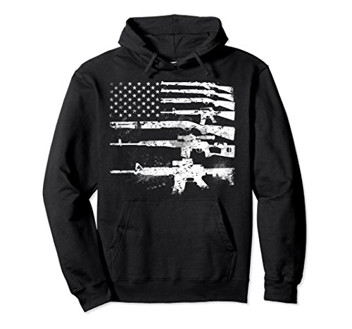 Unisex USA Guns Weapons Flag Rifles Stripes Armed America Hoodie Medium (Gun Sweatshirt)