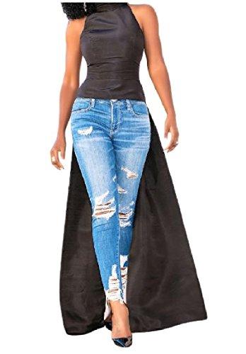 Maisicolis Women Big Pendulum Tops Elegant High Neck Solid Sleeveless Outwear Irregular Coattail Vest Dress AS1 (Vest With Coattails)