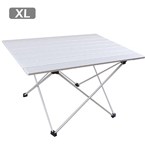(TRIWONDER Ultralight Aluminum Folding Camping Table Collapsible Portable Roll-Up for Outdoor, Camping, Picnic, BBQ, Beach, Fishing (Silver - XL (26.77