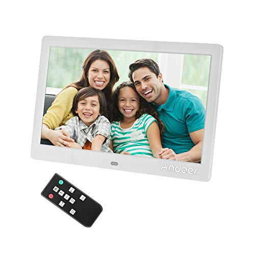 Andoer 10 Inch Digital Picture Photo Frame 1024X600 Resolution Digital Frame 16:9 IPS Screen with Remote Control, Support 1080P Video, USB and SD Card Slots, Calendar, Background Music from Andoer