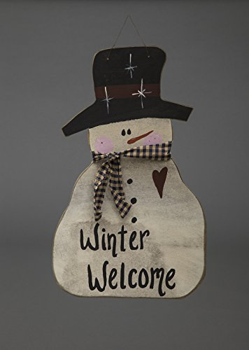 Country Snowman Ornament (Primitive Christmas Decoration - Cheerful Wooden Hanging Snowman - Amish Made in USA)