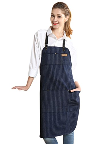 Vantoo Unisex Chef Kitchen Adjustable Denim Apron with Pockets for Men and Women,Navy Blue