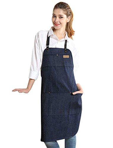 Vantoo Unisex Chef Kitchen Adjustable Denim Apron with Pockets for Men and Women,Navy Blue