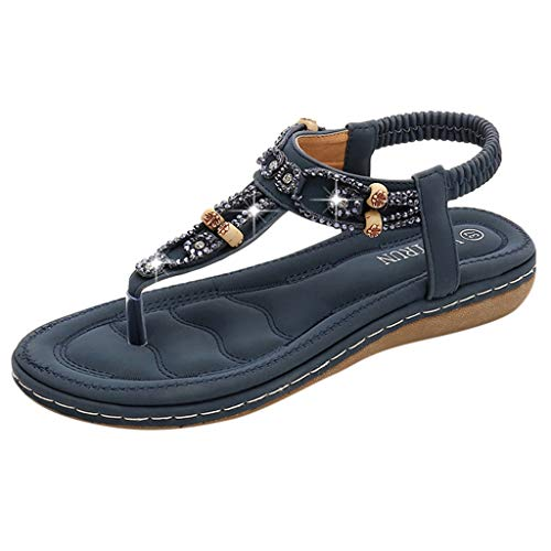 ◕‿◕Watere◕‿◕ Flat Sandals for Women Casual Clip Toe Sandals Bohemia Rhinestone Flower Beaded Comfort T-Strap Sandals Dark Blue
