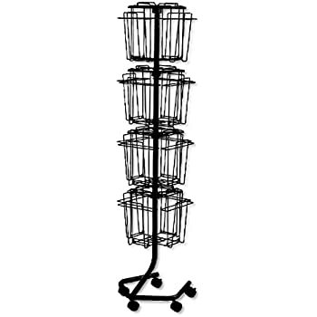 Safco 4139CH Wire Rotary Display Racks, 16 Compartments, 15w x 15d x 60h,