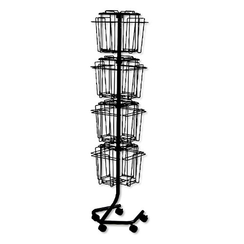 Safco 4139CH Wire Rotary Display Racks, 16 Compartments, 15w x 15d x 60h, Charcoal by Safco Products