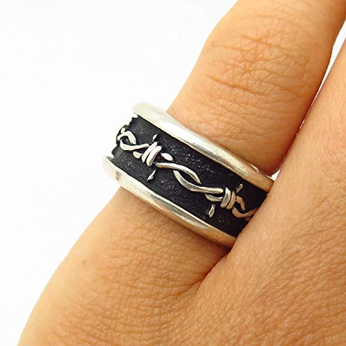 Vintage Shube 925 Sterling Silver Barbed Wire Design Band Ring Size 4 3/4 Jewelry by Wholesale Charms