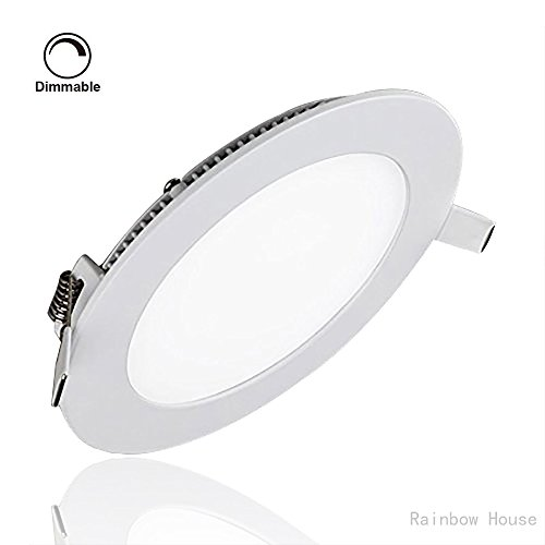 LED Panel Light Celiing Dimmable Lamp 12W 6000k 960LM Round LED Recessed Lighting Cut Hole: 6.1-Inch for Living Room Kitchen Bathroom Ceiling Light Fixture