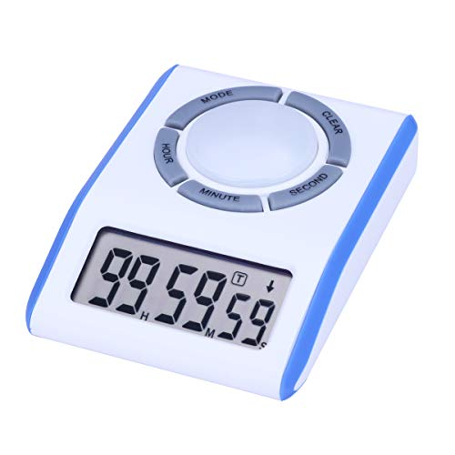 Digital Kitchen Timer Clock 12/24 Hours Wedge Shaped with Countdown, Count-up, Turn On/Off and Clock Feature for Table Top and Laboratory Use- Batteries Included. (Blue Color)