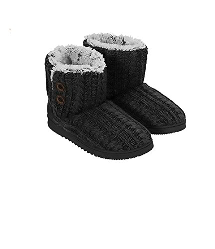 Dearfoams Women's Memory Foam Sweater Knit Indoor/Outdoor Bootie Slippers