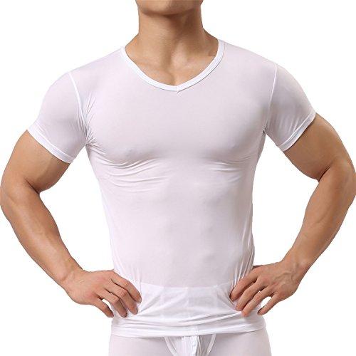 253961aedec798 Men's Sexy Underwear Shirts Short Sleeve T-shirt Mesh Sheer Top Undershirt  Sleepwear