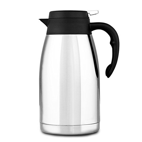 304 Stainless Steel Double Walled Vacuum Insulated Carafe with Press Button Top, Quality Thermal Carafe, Water Pitcher with Lid, coffee Pots, Serving Pitchers Coffee Thermos, 2-liter,Silver (Quality Thermal)