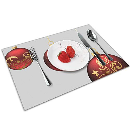(MNBVC Christmas Red Balls Ornaments Placemats Set of 4 for Dining Table Washable Woven Vinyl Placemat Non-Slip Heat Resistant Kitchen Table Mats Easy to Clean )