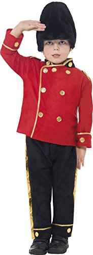 Smiffy's Children's Busby Guard Boy Costume, Top, Trousers and Hat, Ages 4-6, Size: Small, Color: Red and Black, 26859 (Child Busby Guard Costumes)
