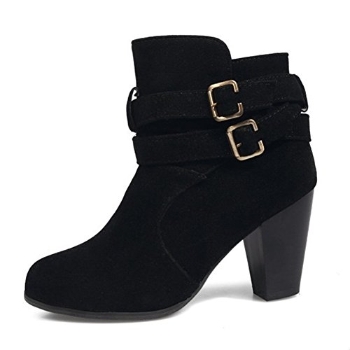 Girls Fashion Casual Brand Shoes Buckle Women's Boots Lady DecoStain High Heel Black Boots Sexy Cross TpA4qc