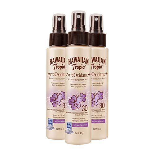 Hawaiian Tropic Antioxidant Sunscreen Spray With Green Tea Extract, SPF 30, 3.4 Ounce, Pack of 3