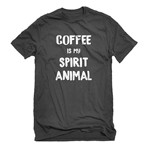 - Mens Coffee is My Spirit Animal Small Charcoal Grey T-Shirt