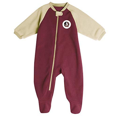 Pro Edge Infants' NCAA Florida State Seminoles Fleece Blanket Sleeper Footed Pajamas (Garnet Gold, 6-9 Months)