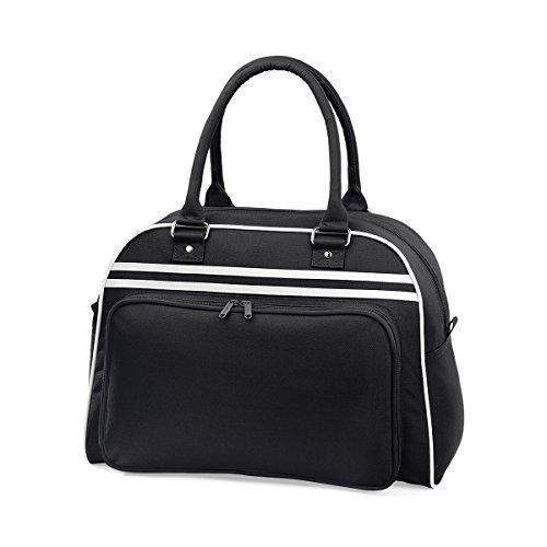 BagBase Borsa a mano bowling da Donna Retro bag 44x31x25cm 23L Black White Black/ White