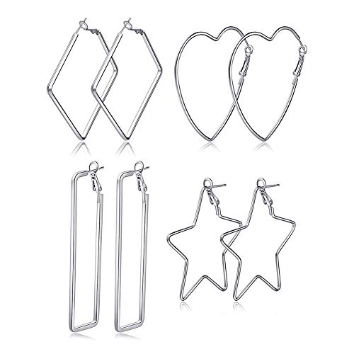 4 Pairs Hoop Earrings Set for Women Girls Silver Assorted Multiple Star Square Heart Large Statement Drop Dangle ()
