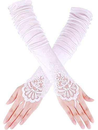 Sumind Fingerless Gloves Lace Sequins Satin Gloves for Party Bridal (White 1, 17 ()