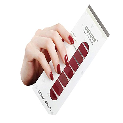 Nail Polish Strips Single Color - Art Stickers DIY Manicure, Including 20 Pieces Nail Strip, Nail File, Disinfection Cotton, Gift For Mother, Sister, Friends