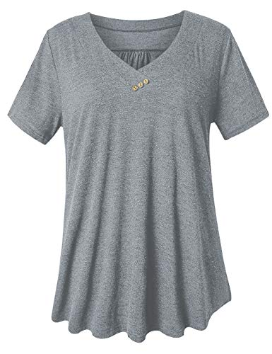 U.Vomade Womens Flowy Tops Plus Size V Neck Tunic Casual Summer Shirts Gray 2X-Large ()