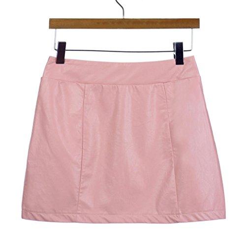 cuir 2018 courte haute moulante Bandge Fit Femmes Jupes Mini Slim Rose taille ESAILQ xqCtw45RBn