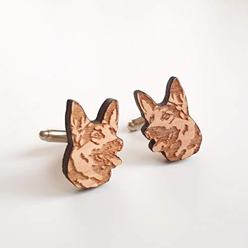 (German Shepherd Portrait cuff links wood men accessories, dog portrait gift for pet lovers)