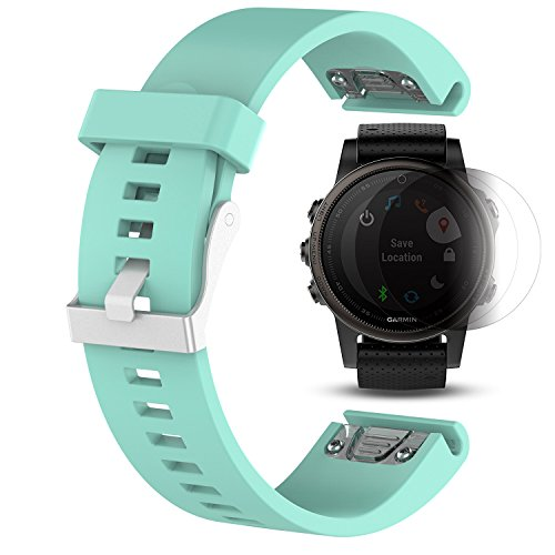 Price comparison product image Garmin Fenix 5S Band With Screen Protector, TUSITA Replacement Soft Silicone Quick Fit Bracelet Sport Strap WristBand Accessory For Garmin GPS Watch (Cyan)