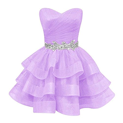 Pettus Women's Sweetheart Ruffle Beads Homecoming Dresses Sequins Sash Prom Party Gowns Short Lilac8