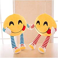 Frantic Plush Feeling Hungry Decorative Smiley Pillow Cushions with Soft Hands and Legs (Yellow) -Pack of 2