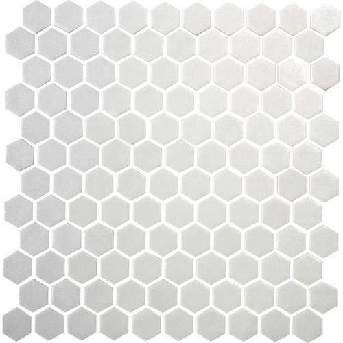 Daltile Uptown Glass Matte Alabaster 1 Hexagon Mosaics UP20 Kitchen Backsplash Bathroom Shower Wall and Floor Tile