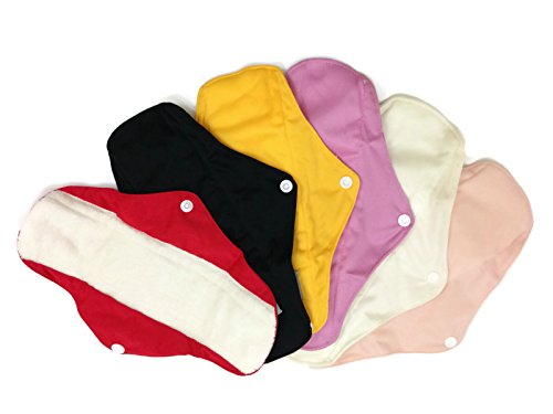 6 Bamboo Mama Cloths/ Menstrual Pads/ Reusable & Water Resistant Sanitary Pads / Panty Liners...