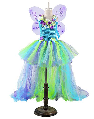 Tutu Dreams Kids Fairy Costume Dress for Birthday Christmas Party Gift 1-8Y (Blue, XL) ()