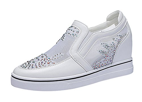 Passionow Women's Casual Slip-on Rhinestone-Studded High Increase within Loafer Shoes (8.5 B(M)US,white)