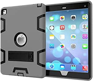 For Apple iPad Mini 4 7.9 Inch Anti Finger Print Mixed Protective Shell/Skin Shockproof Heavy Duty Hard Case Cover with Kick-stand/Grey and Black