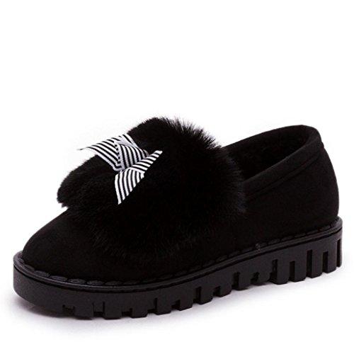 Botas Mujer,Ouneed ® Moda mujer raquetas de nieve de algodón mantienen cálidas botas de invierno Negro