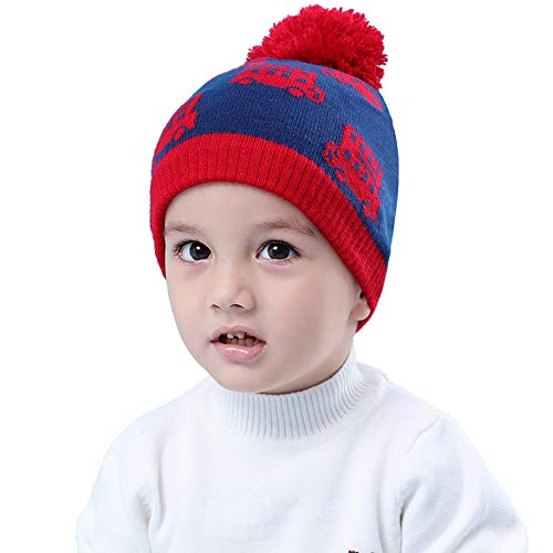 Pattern Hat Crochet Earflap - Ladysen Kids Boy's Earflap Beanie Hat Warm Earmuffs Hat Winter Hat Earflap Knit Crochet Cap with Cool Car Pattern Winter Hat for L