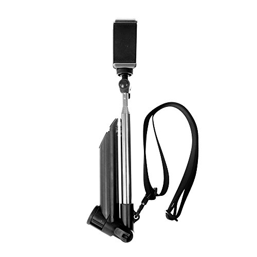 MAGIPEA Tripod with Extendable Stainless Steel Selfie Stick and Neck Lanyard in Black