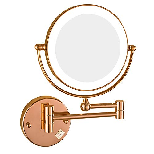 Wall Mounted LED Lighted Makeup Mirror, 8 inch Double Sided Brass Vanity -