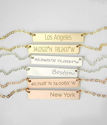 - Coordinates Bar Necklace with Custom Longitude and Latitude Locations, Gold Filled or Sterling Silver Bar Necklace, Personalized Name Necklace