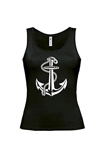 Shirt-Checker - Camiseta sin mangas - para mujer Blanco Y Negro