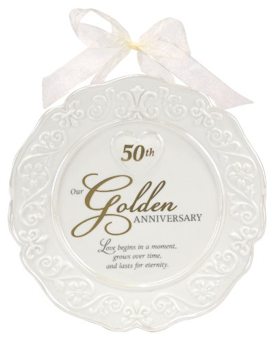 Malden International Designs Glazed Ceramic 50th Anniversary Plate With Gold Accents And Ribbon For Hanging, 9x9, White
